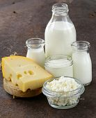stock photo of milk products  - assortment of dairy products  - JPG