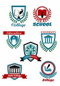 stock photo of school building  - Education heraldic logo emblems for school college university with books pens globe buildings tree bordered shields or stamps with laurel wreaths and ribbon banners - JPG