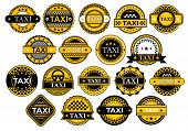 Постер, плакат: Taxi Labels In Retro Style