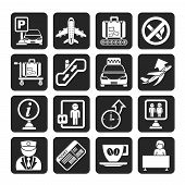 foto of elevator icon  - Silhouette Airport and transportation icons  - JPG