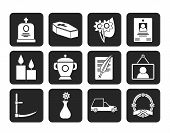 foto of hearse  - Silhouette funeral and burial icons  - JPG