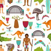 pic of aborigines  - Australia seamless pattern with australian aborigine animals and tourist vector illustration - JPG