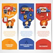 image of food truck  - Truck vertical banners flat set with international radioactive materials and food transport isolated vector illustration - JPG