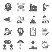 pic of partnership  - Coaching business teamwork partnership and collaboration training system icon black set isolated vector illustration - JPG