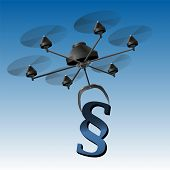 picture of drone  - Drone or unmanned aerial vehicle UAV carrying a paragraph signs as a symbol for legal problems or regulations - JPG