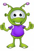stock photo of alien  - A cartoon illustration of a cute little green alien character - JPG