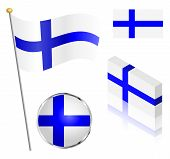 picture of flag pole  - Finnish flag on a pole badge and isometric designs vector illustration - JPG