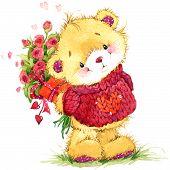 foto of congratulation  - cute funny teddy bear and congratulations on Valentine - JPG
