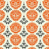 foto of african mask  - Tribal mask seamless pattern - JPG
