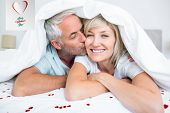 pic of mature men  - Closeup of mature man kissing womans cheek in bed against cute valentines message - JPG