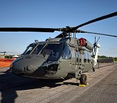 picture of military helicopter  - Modern military helicopter on the ground closeup - JPG