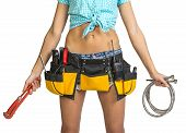 stock photo of plumber  - Plumber in shorts - JPG