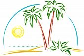Beautiful Landscape - Palm trees on the beach (Vector)