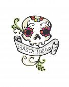 foto of day dead skull  - Hand drawn vector illustration or drawing of a representation of dead - JPG