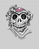 stock photo of day dead skull  - Hand drawn vector illustration or drawing of a representation of dead - JPG