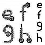 stock photo of g-string  - vector shoelace alphabet lower case letters e f g h - JPG