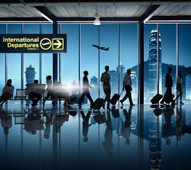 foto of cabin crew  - Silhouette Business People Cabin Crew Airport Business Travel - JPG