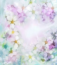picture of violet flower  - Sweet color flowers in soft color and blur style for background - JPG