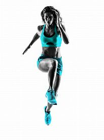pic of studio  - one caucasian woman runner running jogger jogging  in studio silhouette isolated on white background - JPG