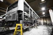 stock photo of locksmith  - a bus frame structure during the renovation of the repair shop - JPG