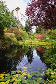 stock photo of ponds  - Fantastic floral Butchart Gardens on Vancouver Island - JPG