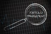 pic of performance evaluation  - corporate performance or market rate graph with magnifying glass concept of portfolio management - JPG