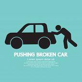 picture of car symbol  - Pushing Broken Car Graphic Black Symbol Vector Illustration - JPG
