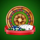 stock photo of roulette table  - Background with chips - JPG