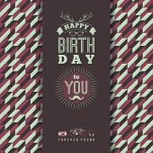 picture of congratulations  - Happy birthday congratulations vintage retro background with geometric pattern - JPG