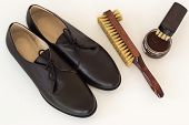 stock photo of shoe  - Isolated Brown Shoes And Means On Care Of Footwear  - JPG