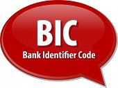 picture of bic  - word speech bubble illustration of business acronym term BIC Bank Identifier Code - JPG