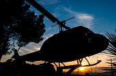 picture of helicopter  - silhouette of a helicopter with sunset background - JPG