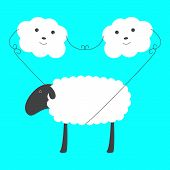stock photo of baby sheep  - Two cute clouds with eyes noses and smiles holding big sheep on rope in blue sky - JPG
