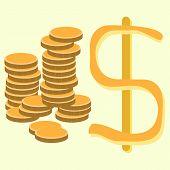 stock photo of golden coin  - vector Illustration of Golden Dollar Coins - JPG