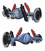 pic of suspension  - Rear axle assembly with suspension and brakes - JPG