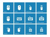 stock photo of qwerty  - Mouse and keyboard icons on blue background - JPG