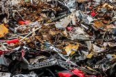 pic of scrap-iron  - old cars were scrapped in a trash compactor - JPG