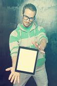 picture of nerds  - Good Looking Young Nerd Smart Guy Man Using Tablet Computer - JPG