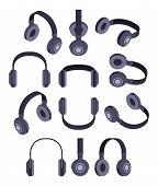 foto of isometric  - Set of the isometric black headphones - JPG