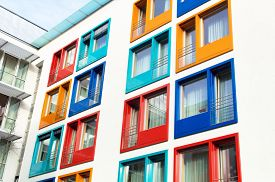 picture of tenement  - colorful facade of a modern apartment building - JPG