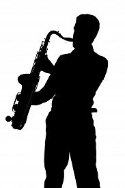pic of saxophone player  - Saxophone player silhouette isolated on white background - JPG