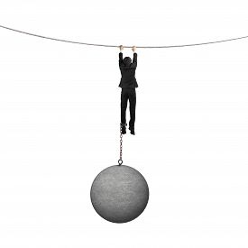 pic of shackles  - Businessman shackled by heavy concrete ball hanging on the rope with white background - JPG