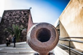 stock photo of cannon  - cannon wide angle. Particular of an old cannon. ** Note: Shallow depth of field - JPG