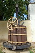 picture of wine-press  - Old wooden wine press for crushing wine - JPG