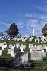 stock photo of tombstone  - Tombstones at the Arlington National Cemetery in Virginia USA - JPG