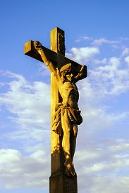 stock photo of crucifixion  - Crucifixion near Chapelle Saint - JPG