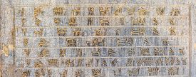 foto of zoroastrianism  - Part of ancient cuneiform detail on the stairway facade of the Apadana at the Persepolis - JPG