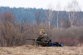 image of hunter  - The hunter waiting game on the field - JPG