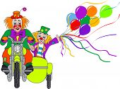 pic of sidecar  - two clowns on motorcycle with sidecar on white background - JPG