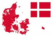 Постер, плакат: Map Of Denmark With Lakes And Rivers And Danish Flag